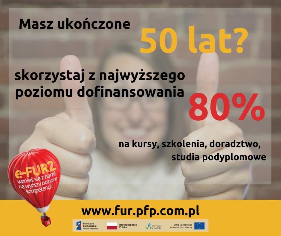 Najwyższy poziom dofinansowania 80%, dla osób które ukończyły 50 lat